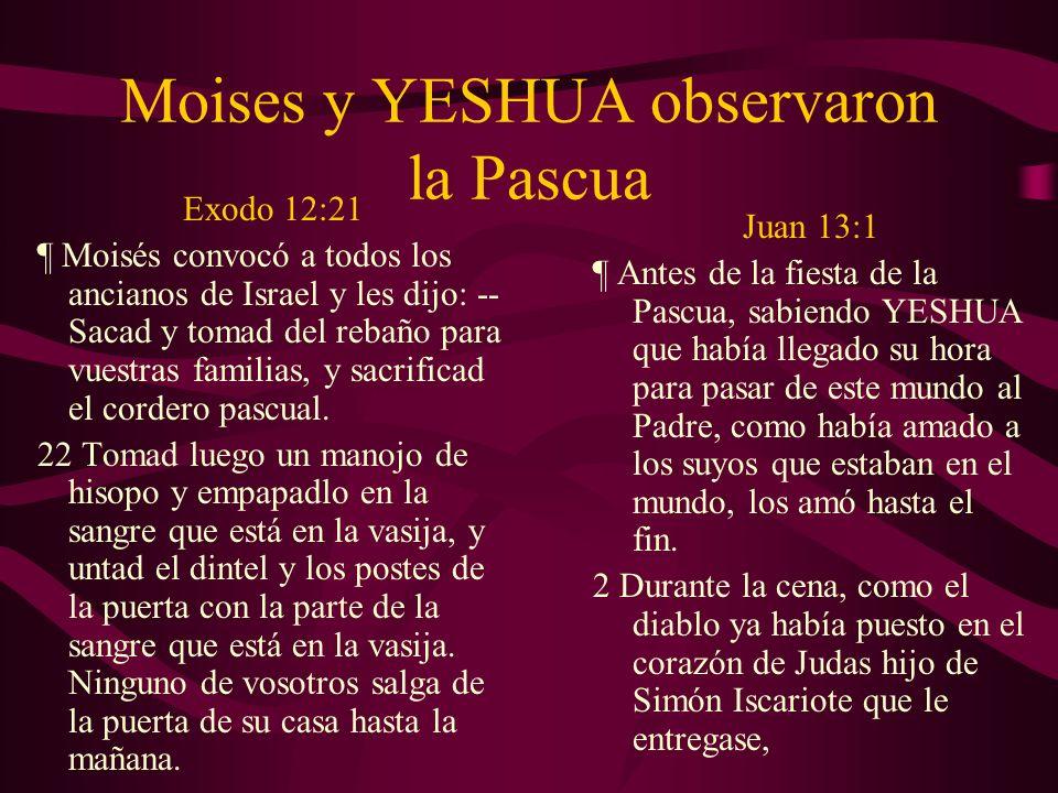 Moises y YESHUA observaron la Pascua Exodo 12:21 ¶ Moisés convocó a todos los ancianos de Israel y les dijo: -- Sacad y tomad del rebaño para vuestras