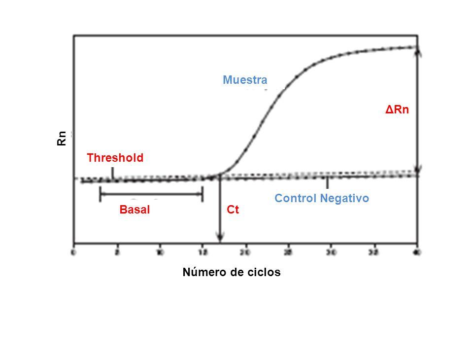 Threshold Basal Control Negativo Ct ΔRn Muestra Rn Número de ciclos