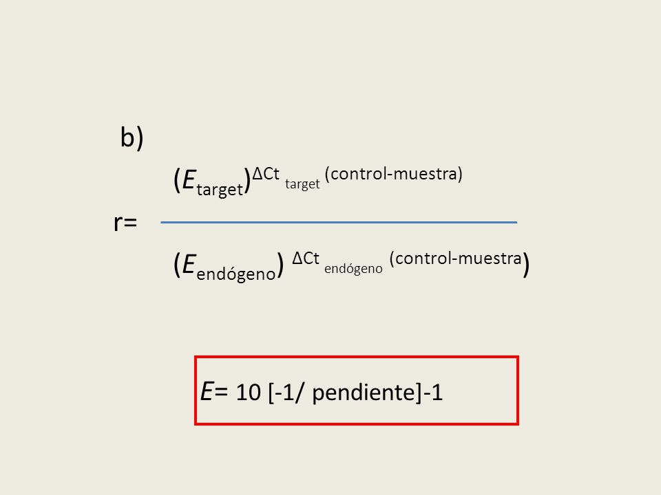 b) (E target ) ΔCt target (control-muestra) r= (E endógeno ) ΔCt endógeno (control-muestra ) E= 10 [-1/ pendiente]-1