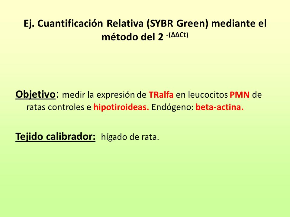 Ej. Cuantificación Relativa (SYBR Green) mediante el método del 2 -(ΔΔCt) Objetivo : medir la expresión de TRalfa en leucocitos PMN de ratas controles