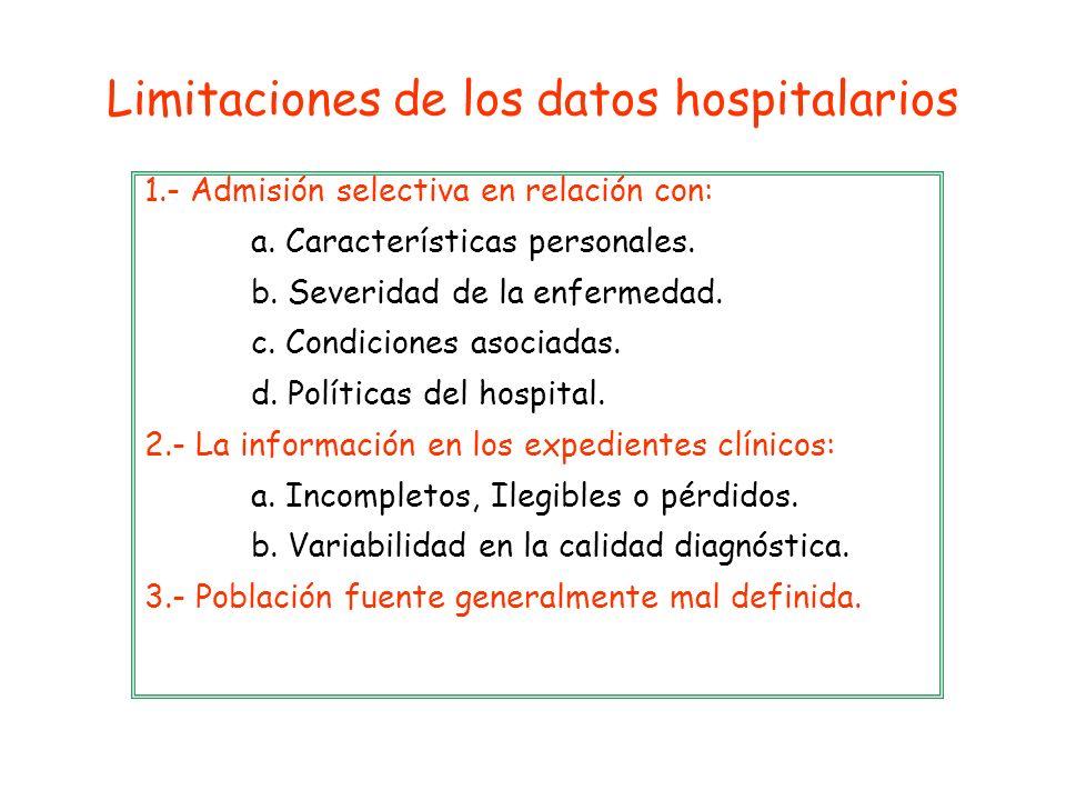 1.- Admisión selectiva en relación con: a. Características personales. b. Severidad de la enfermedad. c. Condiciones asociadas. d. Políticas del hospi