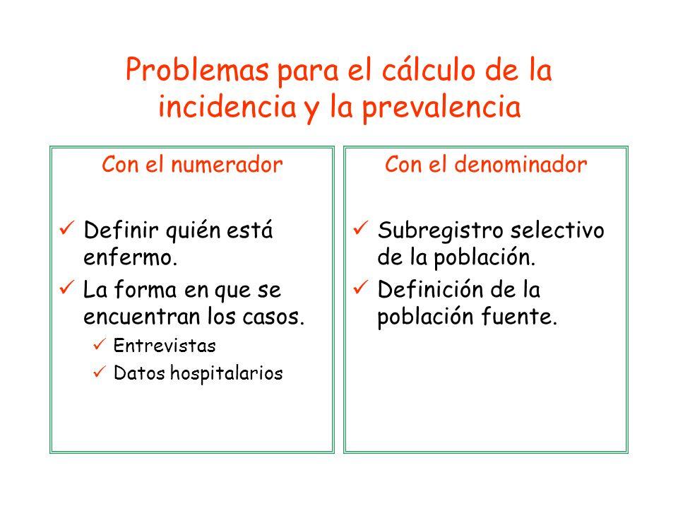 Problemas para el cálculo de la incidencia y la prevalencia Con el numerador Definir quién está enfermo. La forma en que se encuentran los casos. Entr