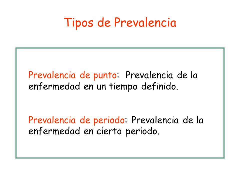 Prevalencia de punto: Prevalencia de la enfermedad en un tiempo definido. Prevalencia de periodo: Prevalencia de la enfermedad en cierto periodo. Tipo