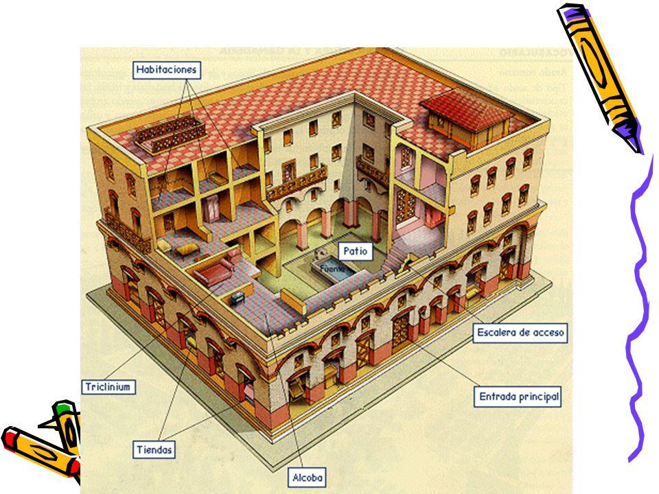 La romanización en la Hispania romana Los romanos nos transmitieron su estilo de vida y muchas de sus costumbres como: La forma de construir sus viviendas y las zonas de recreo públicas.