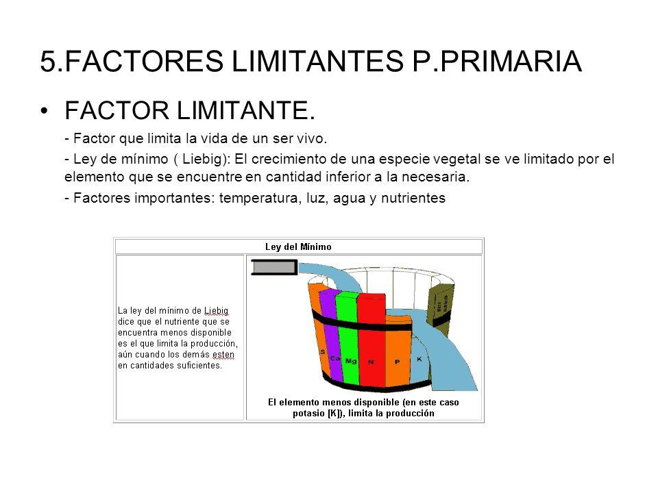5.FACTORES LIMITANTES P.PRIMARIA FACTOR LIMITANTE. - Factor que limita la vida de un ser vivo. - Ley de mínimo ( Liebig): El crecimiento de una especi