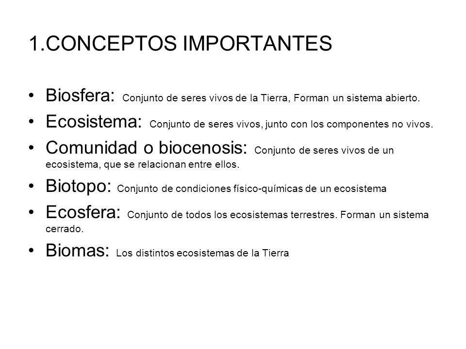 1.CONCEPTOS IMPORTANTES Biosfera: Conjunto de seres vivos de la Tierra, Forman un sistema abierto. Ecosistema: Conjunto de seres vivos, junto con los