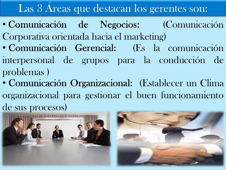 Las 3 Áreas que destacan los gerentes son: Comunicación de Negocios: (Comunicación Corporativa orientada hacia el marketing) Comunicación Gerencial: (