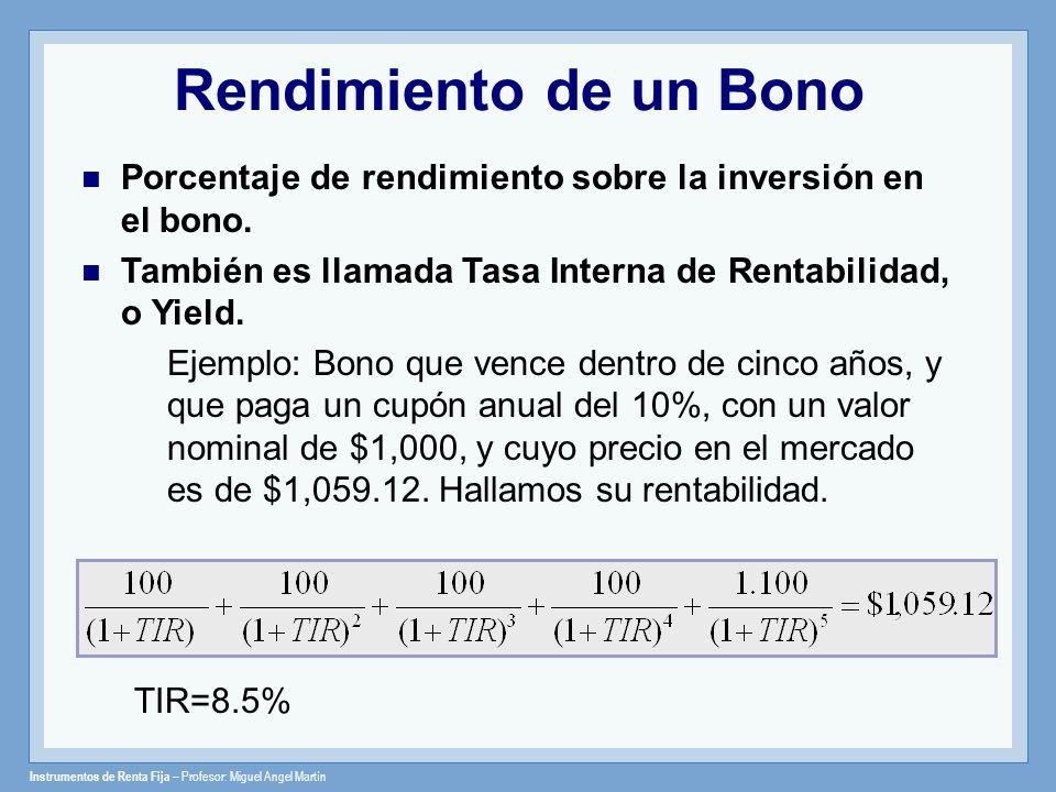 Instrumentos de Renta Fija – Profesor: Miguel Angel Martín Rendimiento de un Bono Porcentaje de rendimiento sobre la inversión en el bono. También es