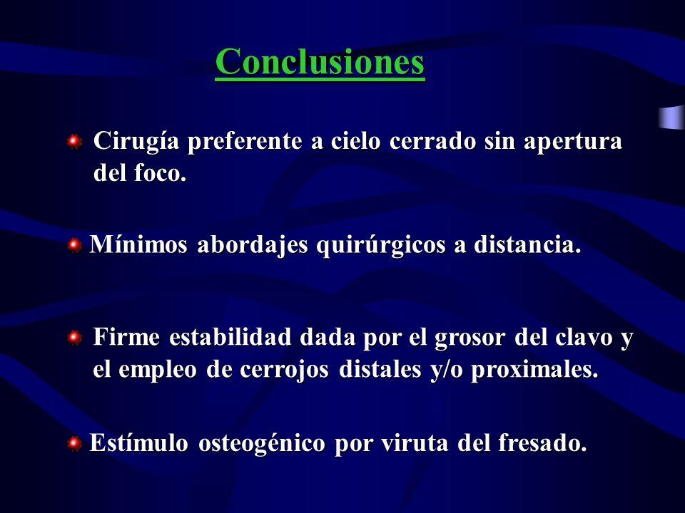 Conclusiones Cirugía preferente a cielo cerrado sin apertura del foco. Mínimos abordajes quirúrgicos a distancia. Mínimos abordajes quirúrgicos a dist