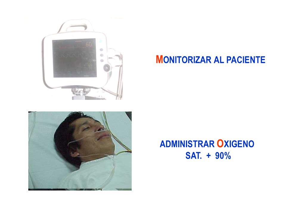 M ONITORIZAR AL PACIENTE ADMINISTRAR O XIGENO SAT. + 90%