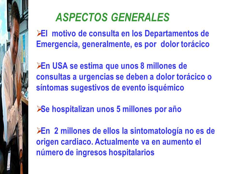 ASPECTOS GENERALES El motivo de consulta en los Departamentos de Emergencia, generalmente, es por dolor torácico En USA se estima que unos 8 millones