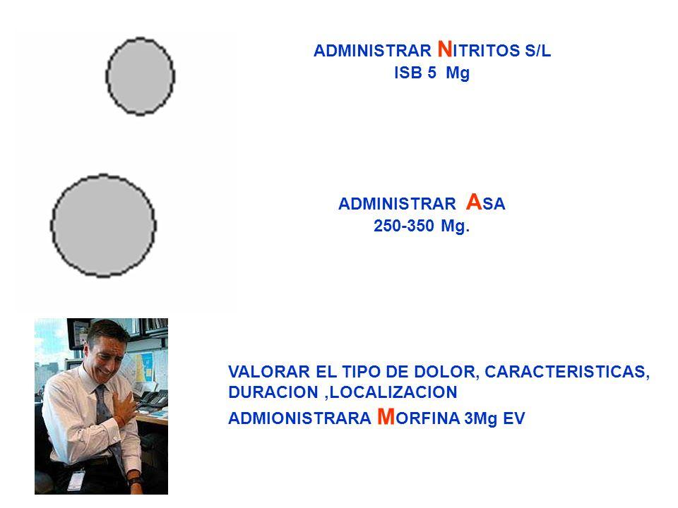 ADMINISTRAR N ITRITOS S/L ISB 5 Mg ADMINISTRAR A SA 250-350 Mg. VALORAR EL TIPO DE DOLOR, CARACTERISTICAS, DURACION,LOCALIZACION ADMIONISTRARA M ORFIN