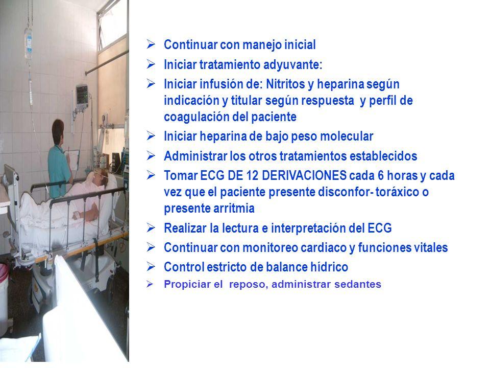 Continuar con manejo inicial Iniciar tratamiento adyuvante: Iniciar infusión de: Nitritos y heparina según indicación y titular según respuesta y perf