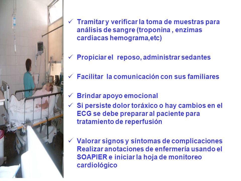 Tramitar y verificar la toma de muestras para análisis de sangre (troponina, enzimas cardiacas hemograma,etc) Propiciar el reposo, administrar sedante