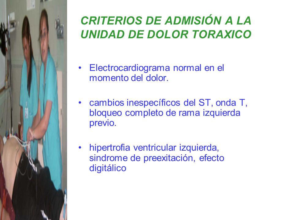 Electrocardiograma normal en el momento del dolor. cambios inespecíficos del ST, onda T, bloqueo completo de rama izquierda previo. hipertrofia ventri