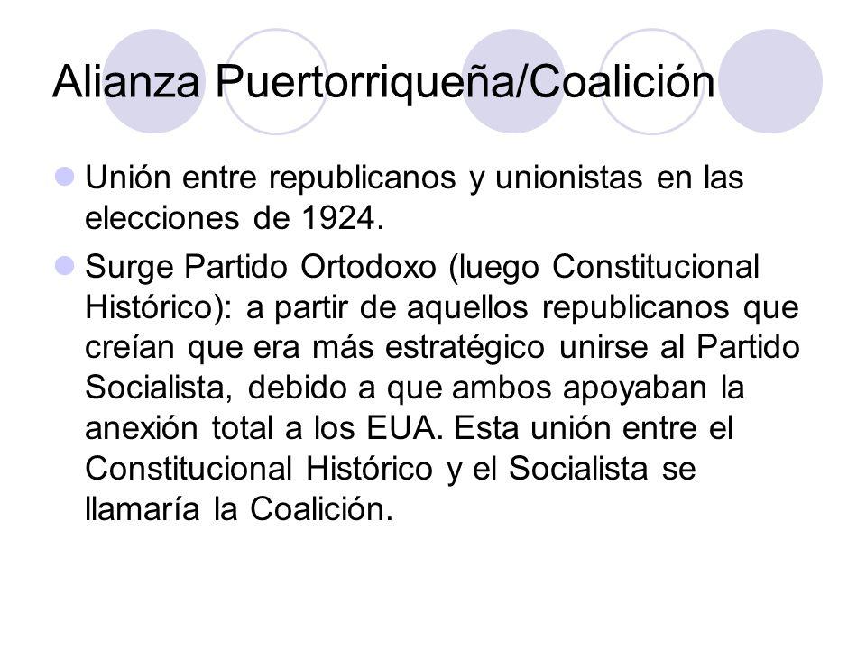 Alianza Puertorriqueña/Coalición Unión entre republicanos y unionistas en las elecciones de 1924. Surge Partido Ortodoxo (luego Constitucional Históri