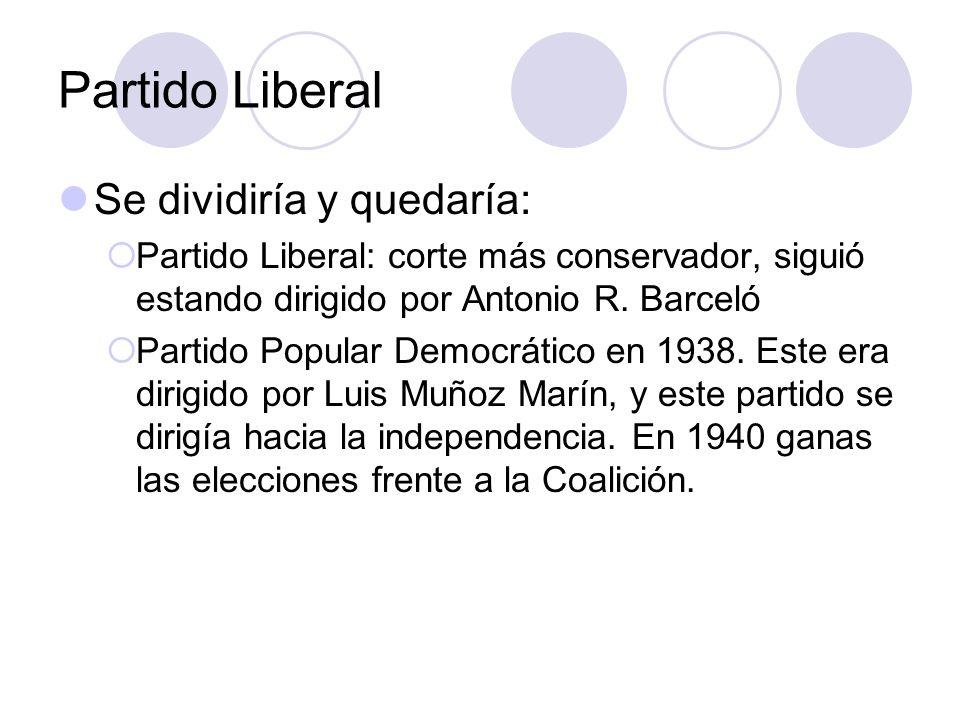Partido Liberal Se dividiría y quedaría: Partido Liberal: corte más conservador, siguió estando dirigido por Antonio R. Barceló Partido Popular Democr
