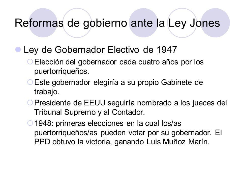 Reformas de gobierno ante la Ley Jones Ley de Gobernador Electivo de 1947 Elección del gobernador cada cuatro años por los puertorriqueños. Este gober