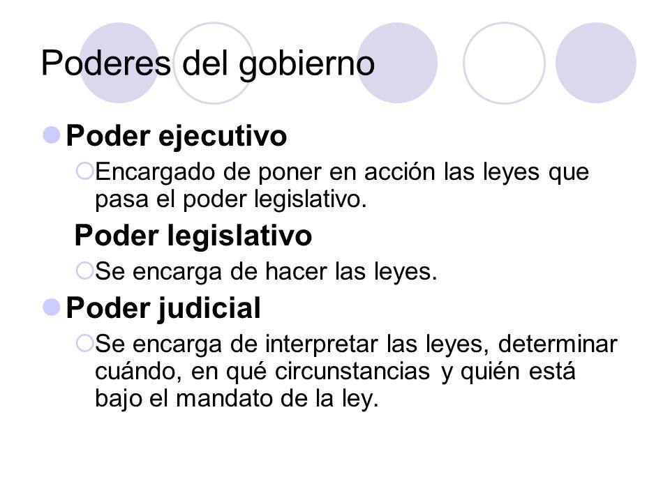 Poderes del gobierno Poder ejecutivo Encargado de poner en acción las leyes que pasa el poder legislativo. Poder legislativo Se encarga de hacer las l
