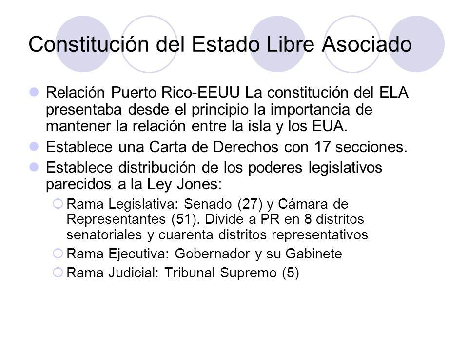 Constitución del Estado Libre Asociado Relación Puerto Rico-EEUU La constitución del ELA presentaba desde el principio la importancia de mantener la r