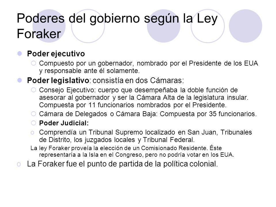 Poderes del gobierno según la Ley Foraker Poder ejecutivo Compuesto por un gobernador, nombrado por el Presidente de los EUA y responsable ante él sol