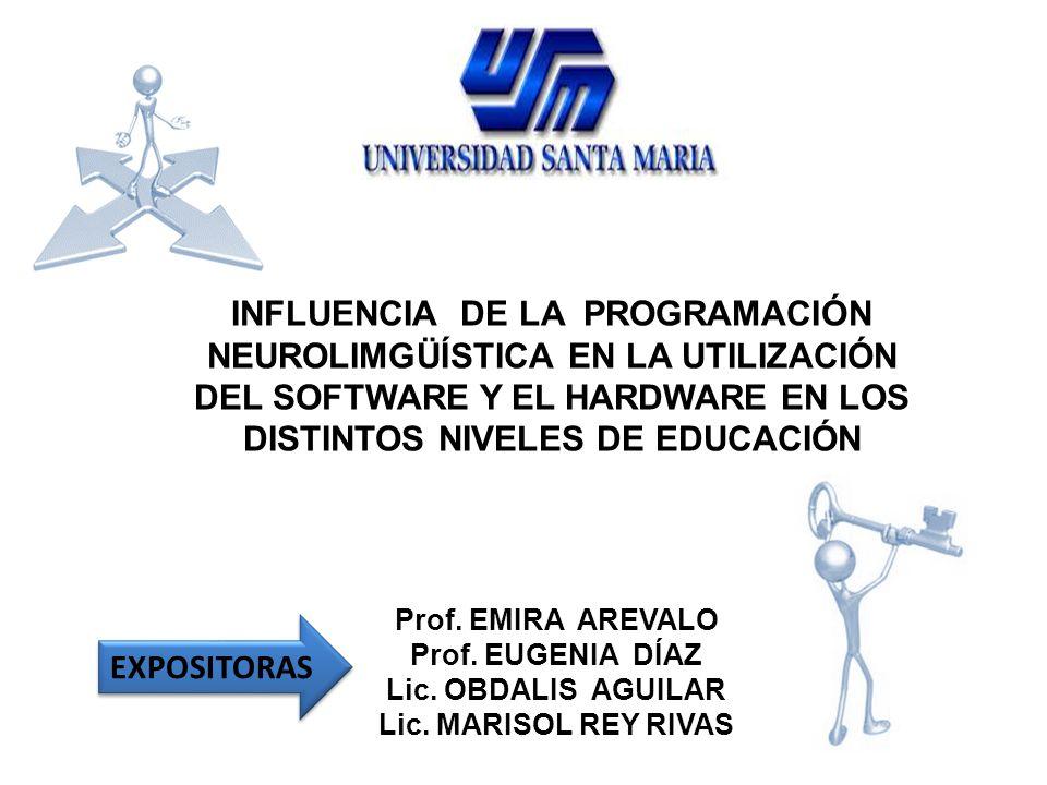 INFLUENCIA DE LA PROGRAMACIÓN NEUROLIMGÜÍSTICA EN LA UTILIZACIÓN DEL SOFTWARE Y EL HARDWARE EN LOS DISTINTOS NIVELES DE EDUCACIÓN EXPOSITORAS Prof. EM