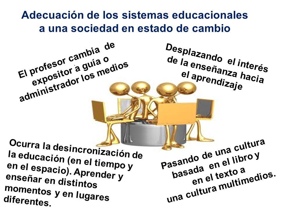 . Adecuación de los sistemas educacionales a una sociedad en estado de cambio Desplazando el interés de la enseñanza hacia el aprendizaje El profesor