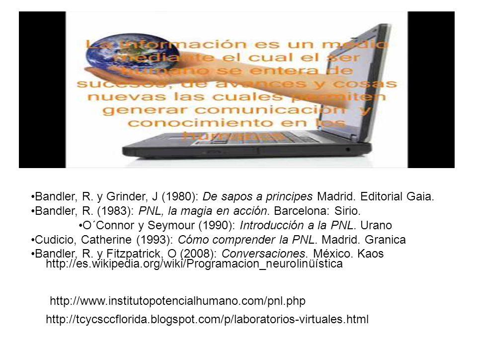 Bandler, R. y Grinder, J (1980): De sapos a principes Madrid. Editorial Gaia. Bandler, R. (1983): PNL, la magia en acción. Barcelona: Sirio. O´Connor
