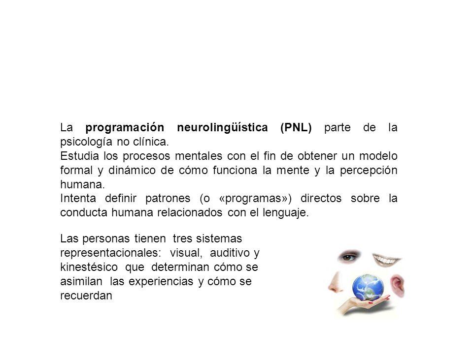 La programación neurolingüística (PNL) parte de la psicología no clínica. Estudia los procesos mentales con el fin de obtener un modelo formal y dinám
