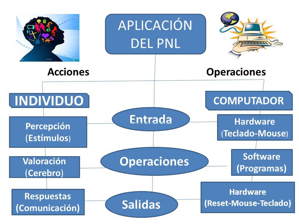 APLICACIÓN DEL PNL INDIVIDUO COMPUTADOR AccionesOperaciones Entrada Operaciones Salidas Percepción (Estímulos ) Valoración (Cerebro) Respuestas (Comun