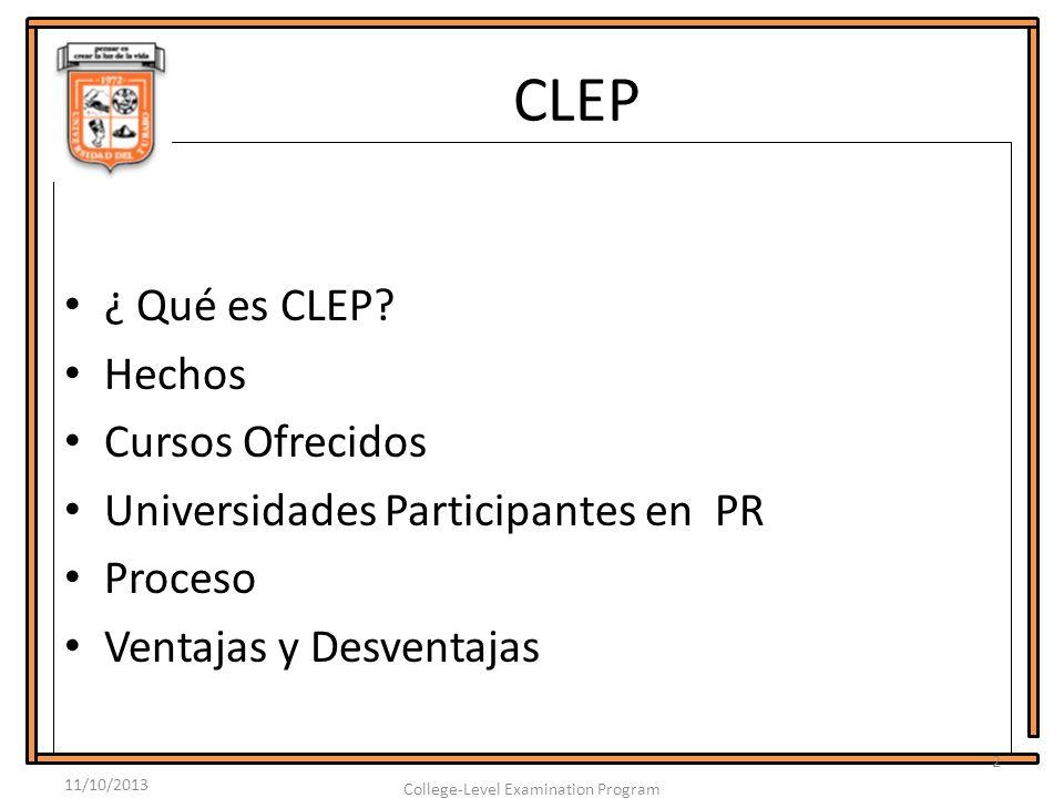 CLEP ¿ Qué es CLEP.