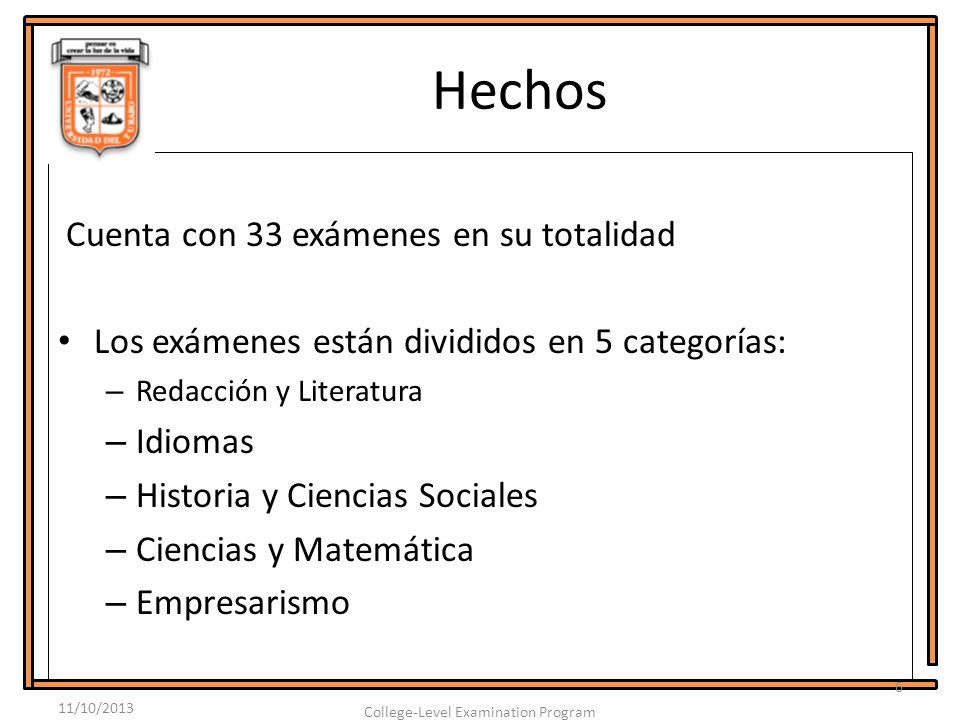 Hechos Cuenta con 33 exámenes en su totalidad Los exámenes están divididos en 5 categorías: – Redacción y Literatura – Idiomas – Historia y Ciencias Sociales – Ciencias y Matemática – Empresarismo 11/10/2013 6 College-Level Examination Program