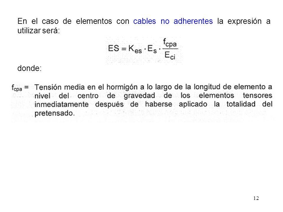 12 En el caso de elementos con cables no adherentes la expresión a utilizar será: donde: