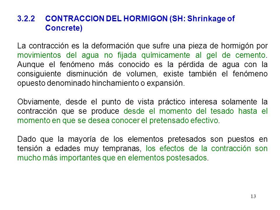 13 3.2.2 CONTRACCION DEL HORMIGON (SH: Shrinkage of Concrete) La contracción es la deformación que sufre una pieza de hormigón por movimientos del agu