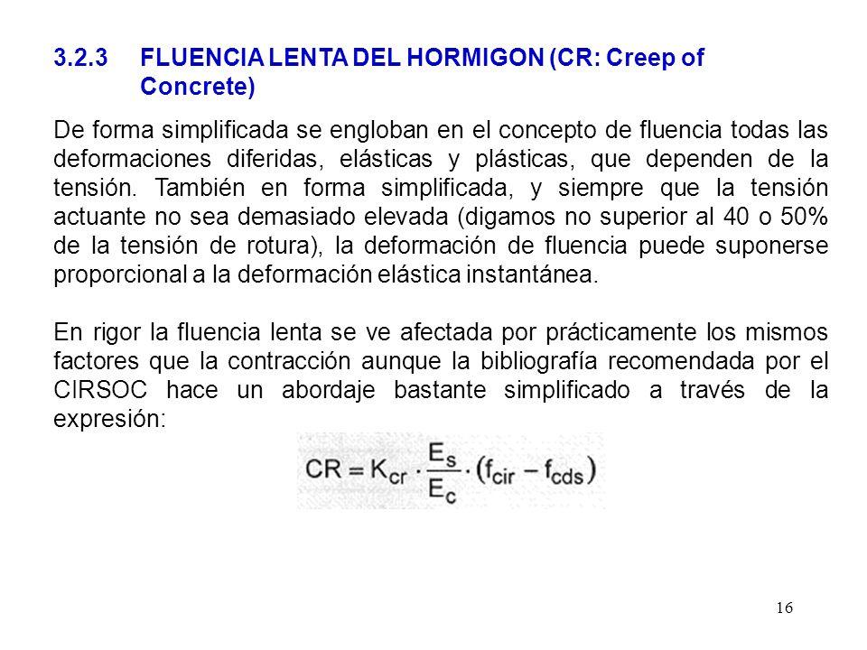 16 3.2.3 FLUENCIA LENTA DEL HORMIGON (CR: Creep of Concrete) De forma simplificada se engloban en el concepto de fluencia todas las deformaciones dife