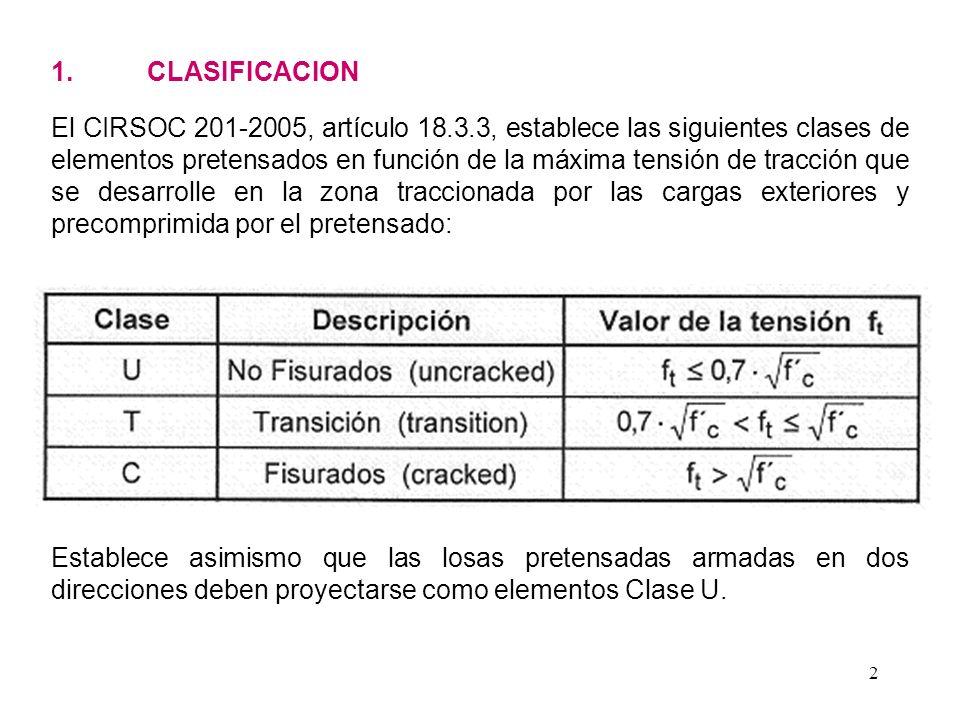 2 1. CLASIFICACION El CIRSOC 201-2005, artículo 18.3.3, establece las siguientes clases de elementos pretensados en función de la máxima tensión de tr