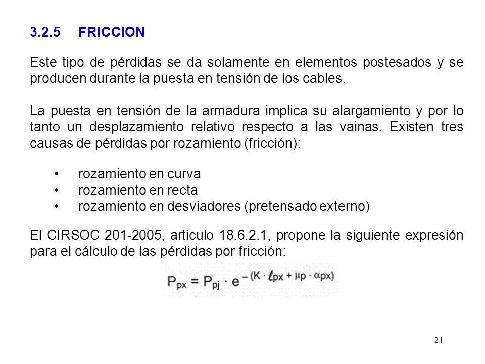 21 3.2.5 FRICCION Este tipo de pérdidas se da solamente en elementos postesados y se producen durante la puesta en tensión de los cables. La puesta en