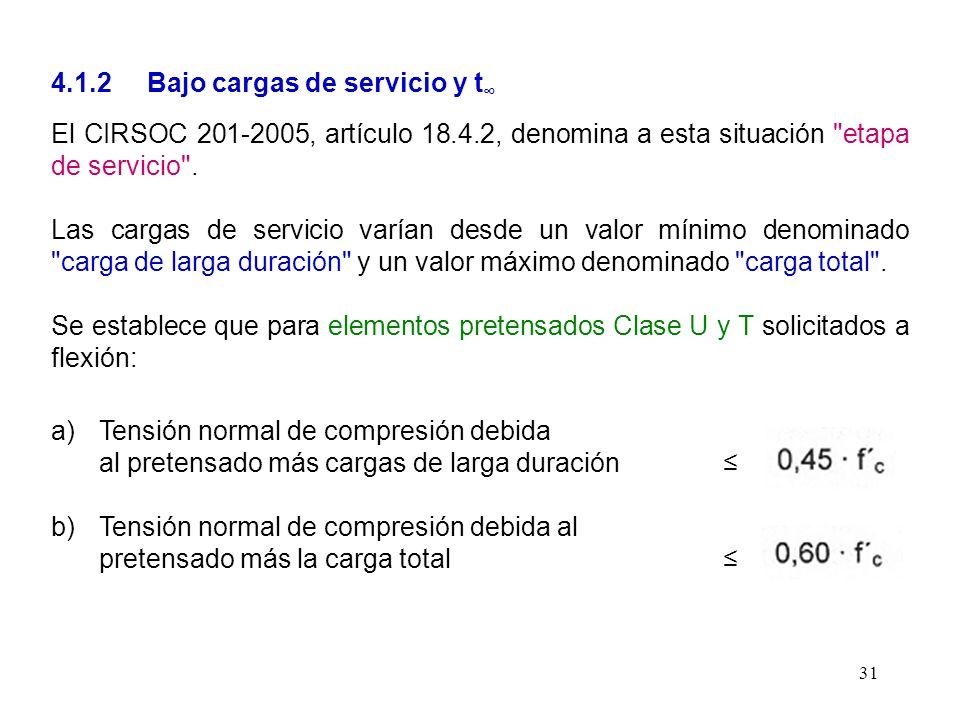 31 4.1.2 Bajo cargas de servicio y t El CIRSOC 201-2005, artículo 18.4.2, denomina a esta situación