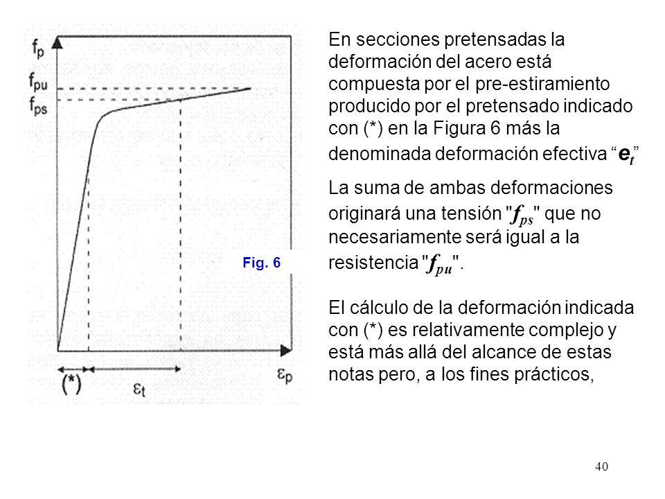 40 Fig. 6 En secciones pretensadas la deformación del acero está compuesta por el pre-estiramiento producido por el pretensado indicado con (*) en la