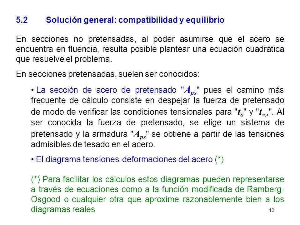 42 5.2 Solución general: compatibilidad y equilibrio En secciones no pretensadas, al poder asumirse que el acero se encuentra en fluencia, resulta pos