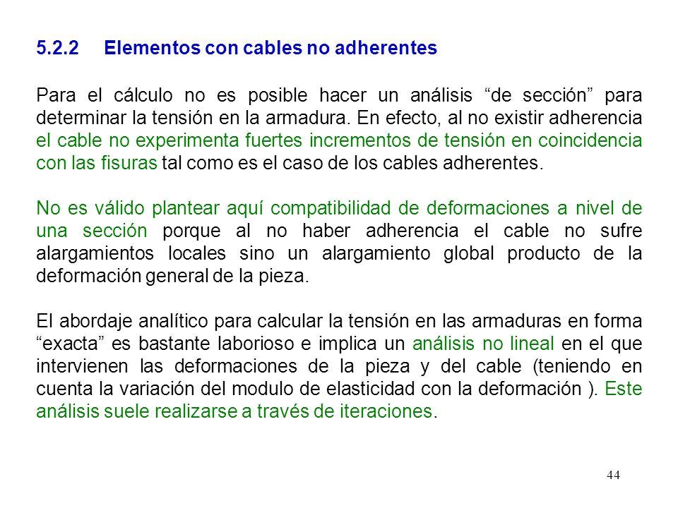 44 5.2.2 Elementos con cables no adherentes Para el cálculo no es posible hacer un análisis de sección para determinar la tensión en la armadura. En e