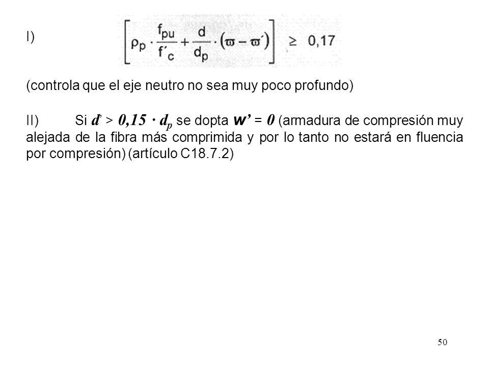 50 I) (controla que el eje neutro no sea muy poco profundo) II)Si d > 0,15 · d p se dopta w = 0 (armadura de compresión muy alejada de la fibra más co