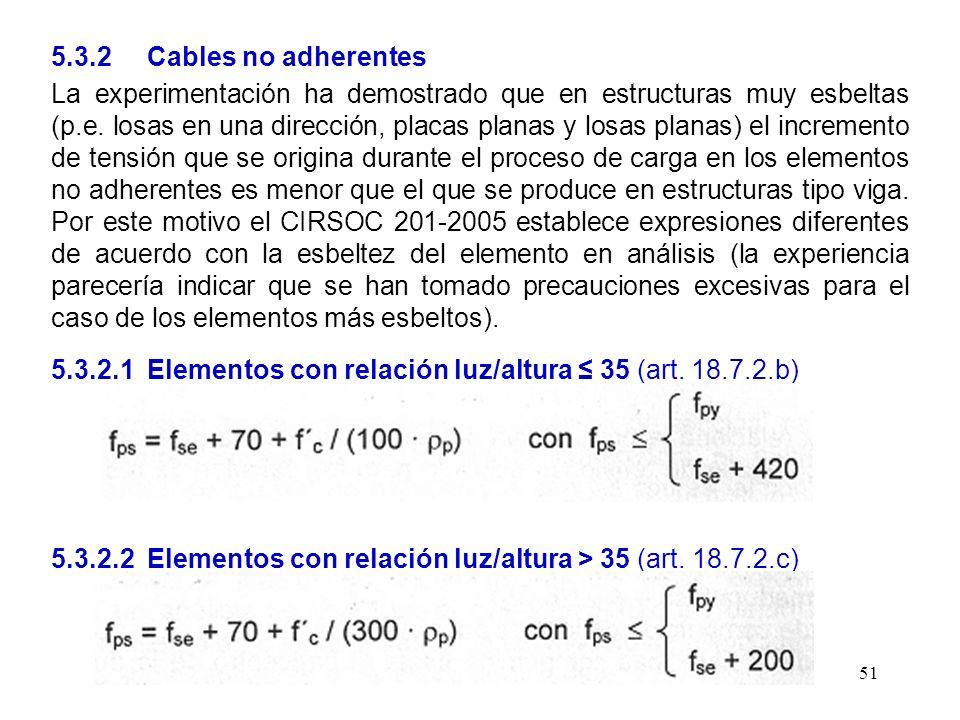 51 5.3.2 Cables no adherentes La experimentación ha demostrado que en estructuras muy esbeltas (p.e. losas en una dirección, placas planas y losas pla