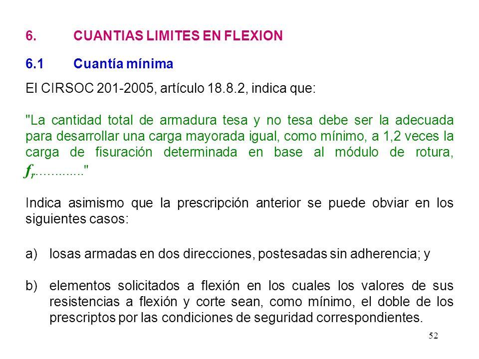 52 6. CUANTIAS LIMITES EN FLEXION 6.1 Cuantía mínima El CIRSOC 201-2005, artículo 18.8.2, indica que: