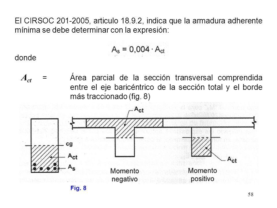 58 El CIRSOC 201-2005, articulo 18.9.2, indica que la armadura adherente mínima se debe determinar con la expresión: donde A ct =Área parcial de la se