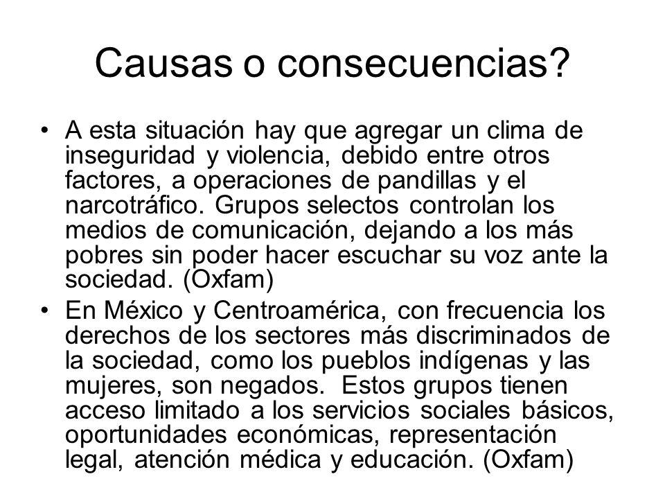 Causas o consecuencias? A esta situación hay que agregar un clima de inseguridad y violencia, debido entre otros factores, a operaciones de pandillas