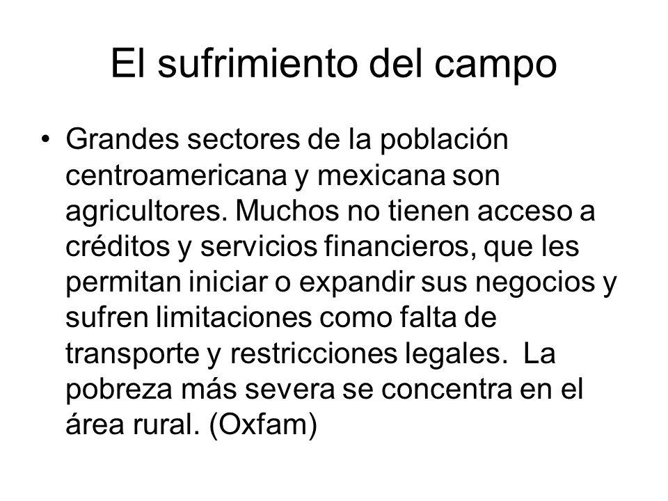 El sufrimiento del campo Grandes sectores de la población centroamericana y mexicana son agricultores. Muchos no tienen acceso a créditos y servicios