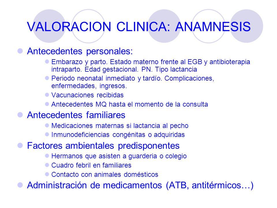 VALORACION CLINICA: ANAMNESIS Antecedentes personales: Embarazo y parto. Estado materno frente al EGB y antibioterapia intraparto. Edad gestacional. P
