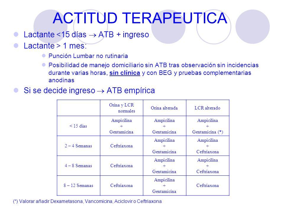 ACTITUD TERAPEUTICA Lactante <15 días ATB + ingreso Lactante > 1 mes: Punción Lumbar no rutinaria Posibilidad de manejo domiciliario sin ATB tras obse