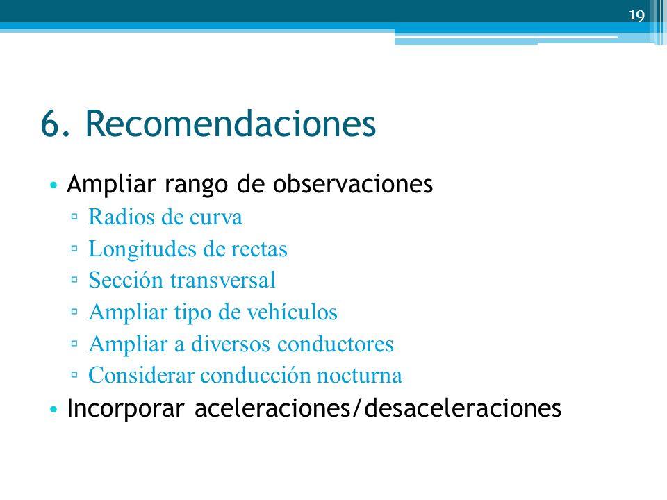 6. Recomendaciones Ampliar rango de observaciones Radios de curva Longitudes de rectas Sección transversal Ampliar tipo de vehículos Ampliar a diverso